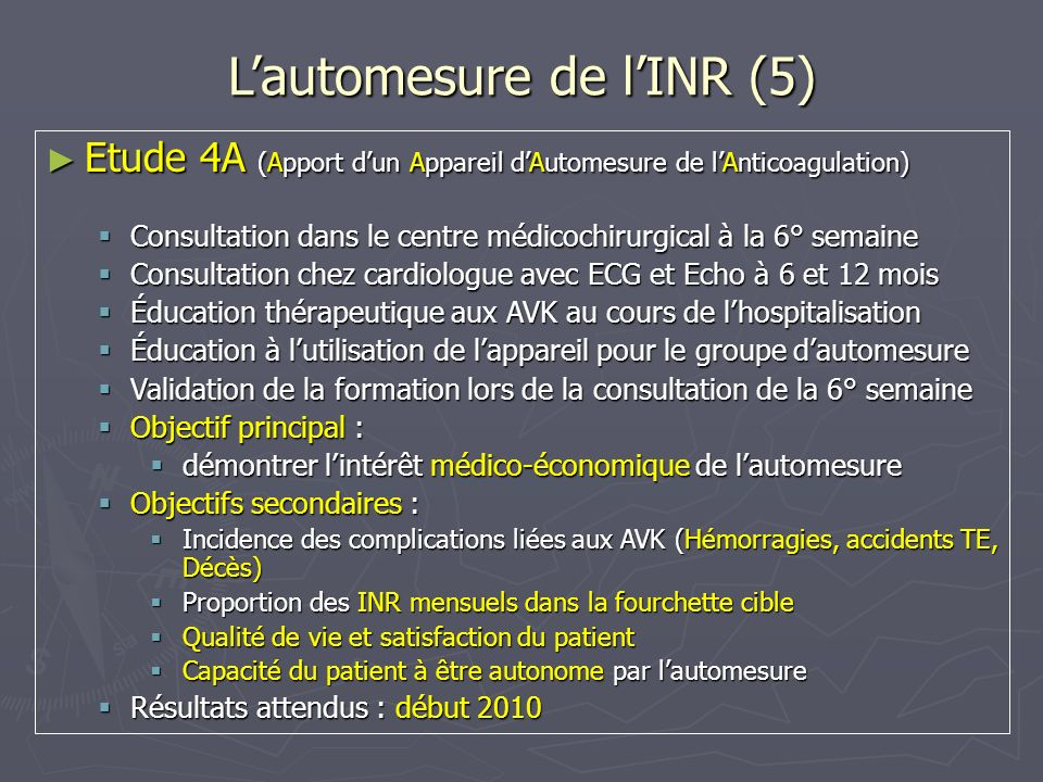 - ACTIVE W Aspirine-Clopidogrel / Warfarine - 6706 patients - Critère principal : AVC, décès vasculaire,IDM, embolies systémiques RR = 1,45 - Critères secondaires AVC : RR = 1,75 Embolies systémiques : RR = 4,13 Pas de différence pour IDM et décès Pas de différence sur le risque hémorragique RR = 1,06 Alternatives aux AVK