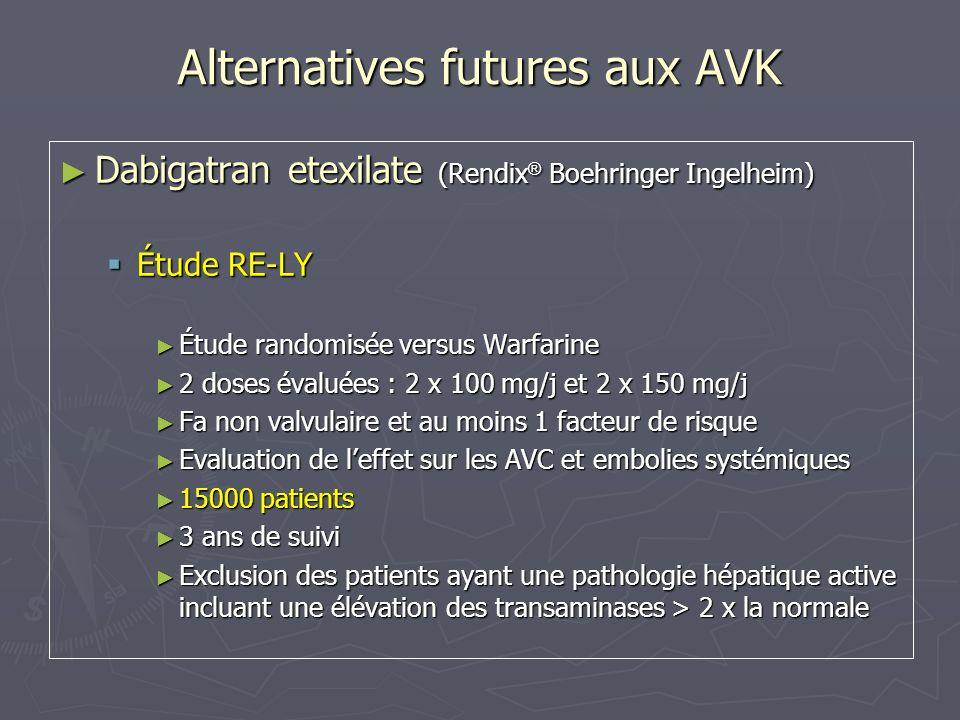 Alternatives futures aux AVK Rivaroxaban (Bay 59-7939) Rivaroxaban (Bay 59-7939) ROCKET-AF ROCKET-AF Étude de non infériorité versus Warfarine Étude de non infériorité versus Warfarine Prévention des AVC et des embolies systémiques dans la FA non valvulaire chez des patients à haut risque Prévention des AVC et des embolies systémiques dans la FA non valvulaire chez des patients à haut risque ATCD dAVC ou dAIT ou daccident embolique à point de départ cardiaque ATCD dAVC ou dAIT ou daccident embolique à point de départ cardiaque ou ou 2 Facteurs de risque (âge > 75 ans, HTA, IC, Diabète) 2 Facteurs de risque (âge > 75 ans, HTA, IC, Diabète) Environ 14000 patients dans 46 pays Environ 14000 patients dans 46 pays Début des inclusions : Décembre 2006 Début des inclusions : Décembre 2006 Durée prévue de létude: 3 ans Durée prévue de létude: 3 ans