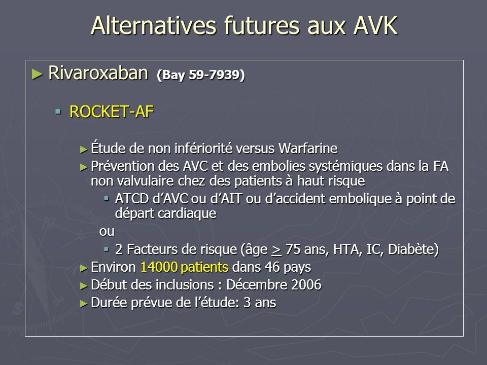 Alternatives futures aux AVK Apixaban (BMS) Apixaban (BMS) ARISTOTLE Clinical Trial ARISTOTLE Clinical Trial Apixaban versus Warfarine Apixaban versus Warfarine FA non valvulaire et Facteurs de risque dAVC FA non valvulaire et Facteurs de risque dAVC 10 000 patients 10 000 patients 3 ans (2007-2010) 3 ans (2007-2010)