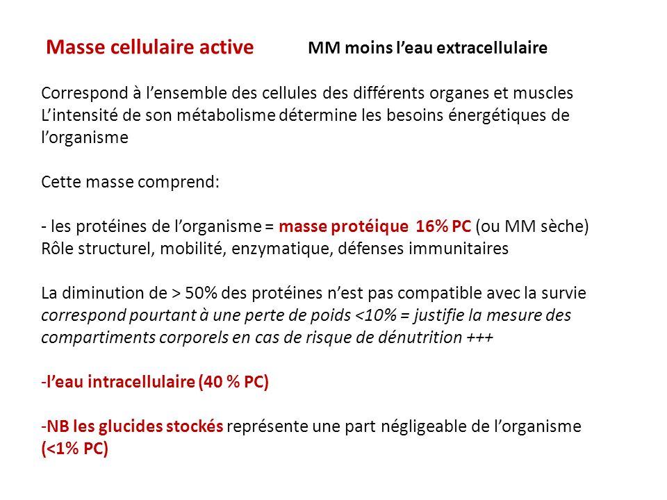 Exemple Homme 40 ans bonne santé PC 70kg MG10 kg14.3 % ECF18L25.7 % ICF26 L37.1 % MIN4 kg5.7 % PROT11 kg15.7 % Densité corporelle (1.05)
