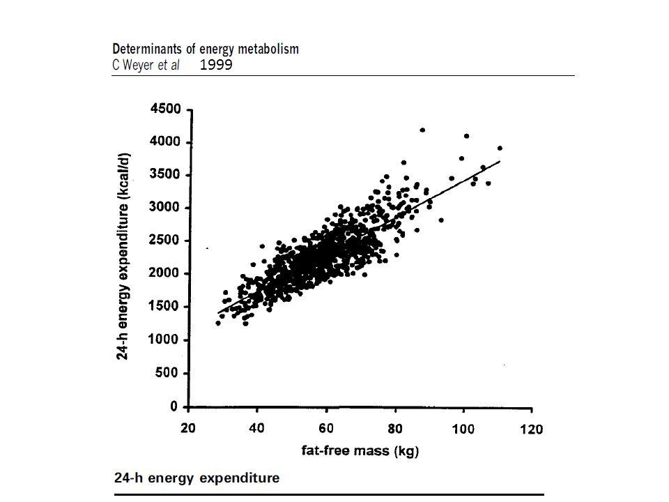 VARIABILITE AVEC LAGE La dépense énergétique totale diminue avec lâge -Dune part, le métabolisme de base diminue denviron 2 % tous les 10 ans à cause de la réduction de la masse maigre associée à lâge + défaut métabolique spécifique du vieillissement.