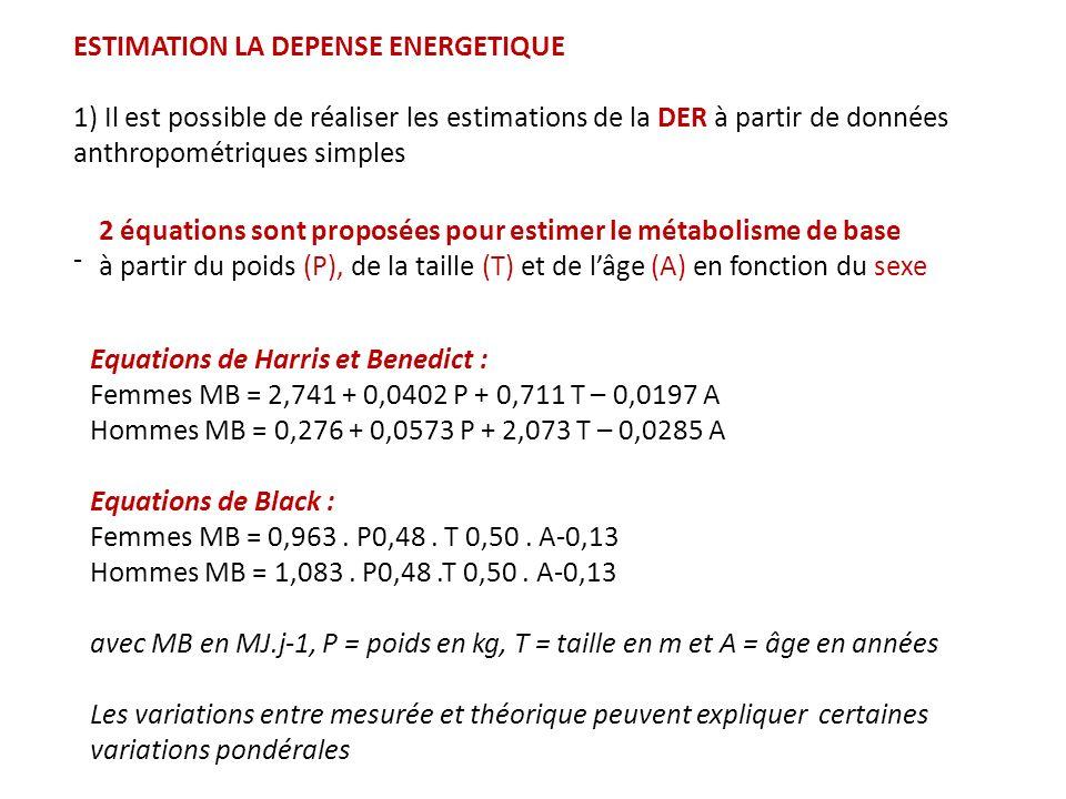 DE = 1.4 DER : malade hospitalisé DE = 1.55 DER : activité légère DE = 1.8 DER : activité modérée DE = 2.1 DER : activité importante 2) la DE totale peut être estimée en multipliant la DER par un facteur traduisant lintensité de lactivité physique dune personne.