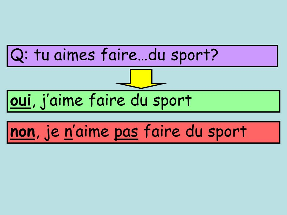 Q: tu aimes faire…du sport? oui, jaime faire du sport non, je naime pas faire du sport