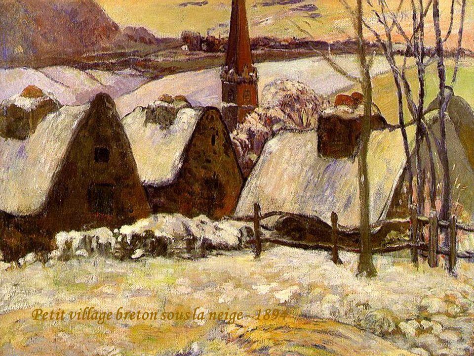 Petit village breton sous la neige - 1894