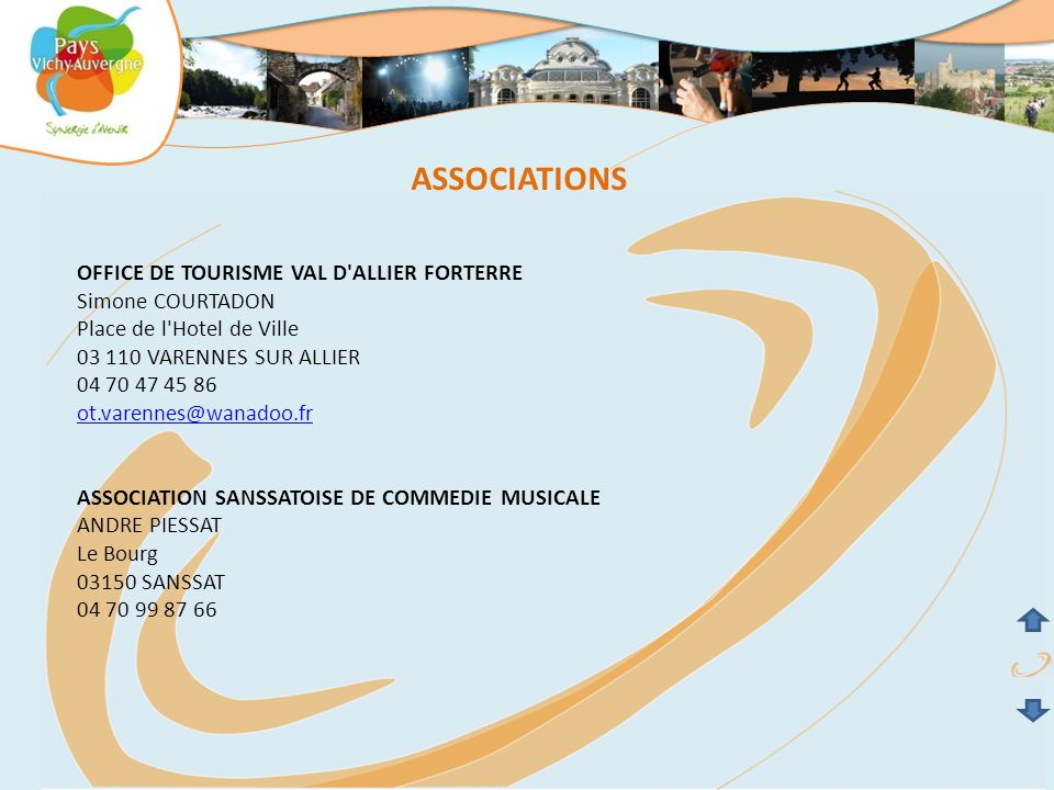 ASSOCIATIONS COMITE DES FETES Mr THEVENET 03150 CRECHY 04 70 43 52 47 ASSOCIATION LANGIUS Mr FRITZ Le Bourg 03150 LANGY 04 70 57 10 10 ASSOCIATION MUSEE RURAL MONTECUTAIN Mr CHOISY Le Bourg 03150 MONTAIGU LE BLIN 06 89 44 75 50
