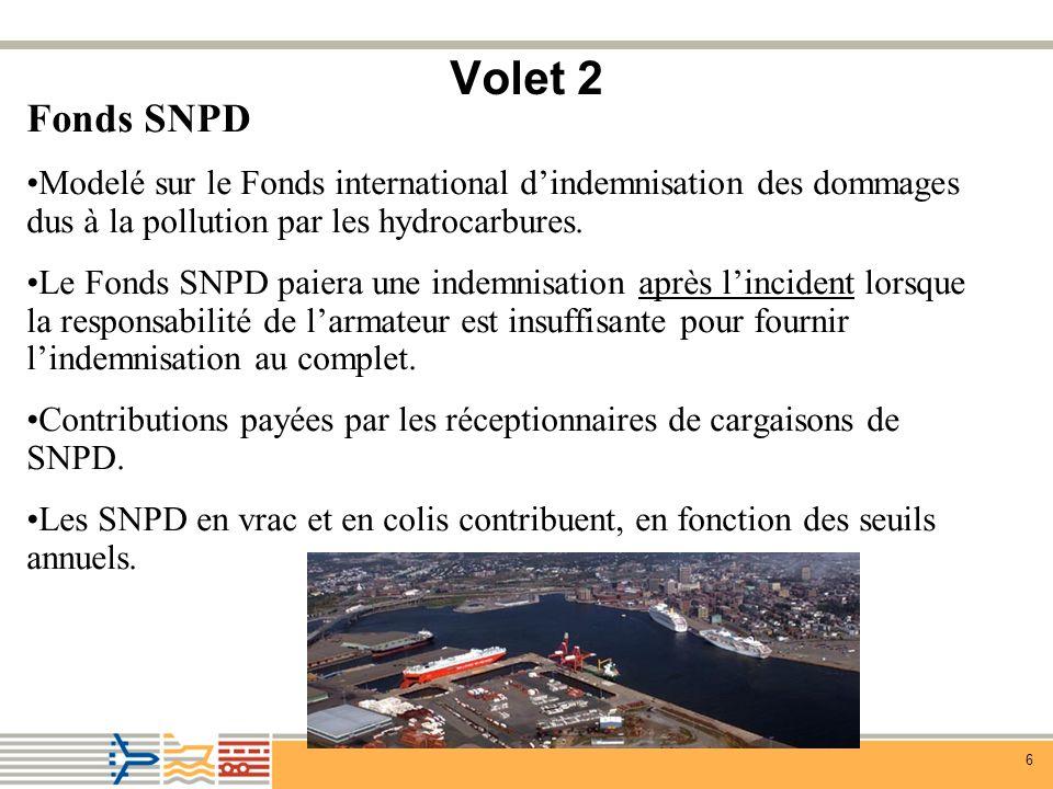 7 Volet 2 (suite) Volet 2 – Fonds SNPD Quatre comptes pour la cargaison qui contribue : Compte Seuil annuel (tonnes) 1) Compte hydrocarbures* 150 000 hydrocarbures persistants 20 000 hydrocarbures non-persistants 2) Compte GPL 20 000 (gaz de pétrole liquéfiés) 3) Compte GNL Aucun (gaz naturels liquéfiés) 4) Compte général 20 000 *Couvre les dommages exclus dans la CLC/le FIPOL 1992 (p.