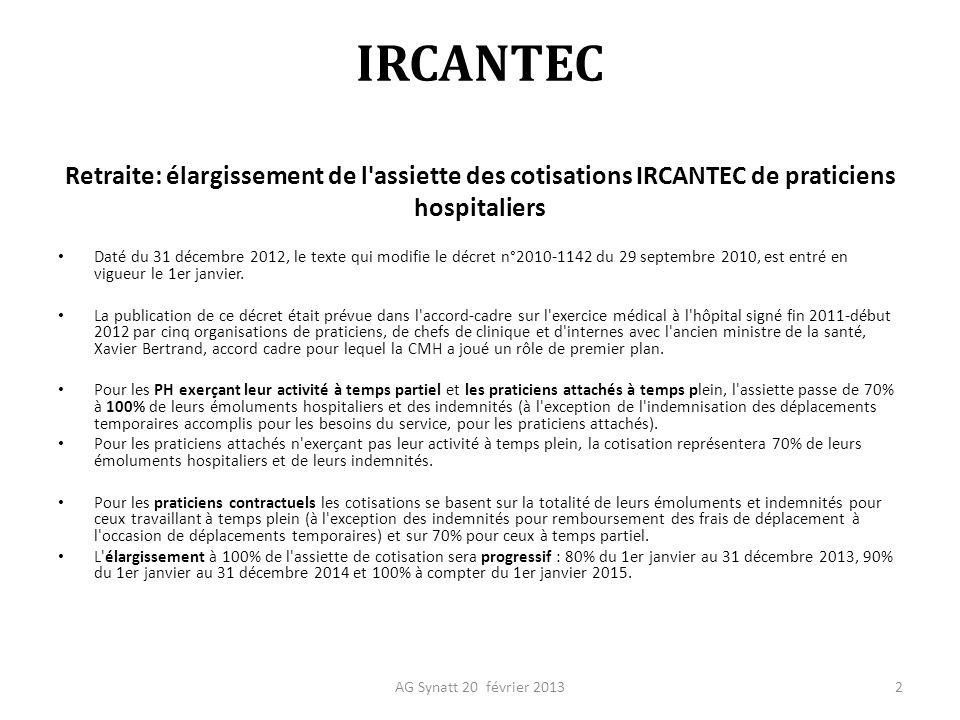 3 IRCANTEC Accord cadre décembre 2011Décrets d application correspondants en 2013 Cotisation sur 80% en 201270% en 2012 (depuis 2010) 90% en 201380% en 2013 100% en 201490% en 2014 100% en 2015 IRCANTEC PA temps partielsPAA temps partiels Cotisation sur 70% PA Temps pleins