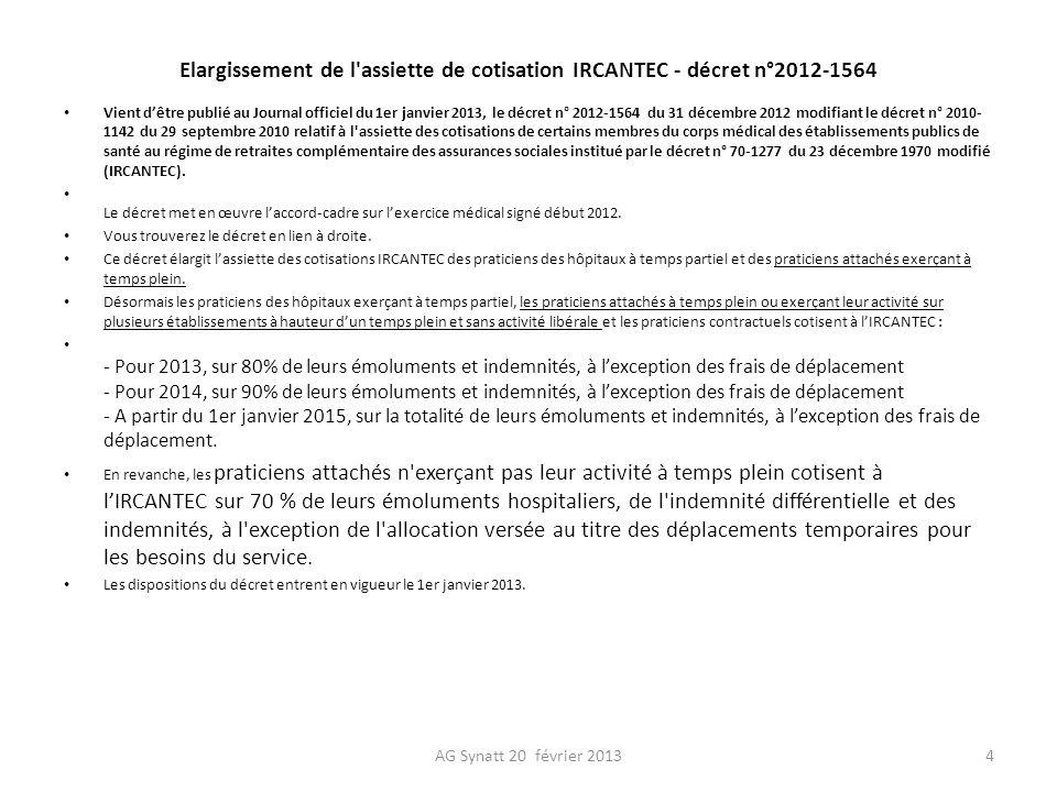Décret n° 2012-1564 du 31 décembre 2012 modifiant le décret n° 2010-1142 du 29 septembre 2010 relatif à lassiette des cotisations de certains membres du corps médical des établissements publics de santé au régime de retraites complémentaire des assurances sociales institué par le décret n° 70-1277 du 23 décembre 1970 modifié JORF n°0001 du 1 janvier 2013 Tex NOR: AFSH1231991D Publics concernés : praticiens des hôpitaux à temps partiel et praticiens attachés exerçant à temps plein.