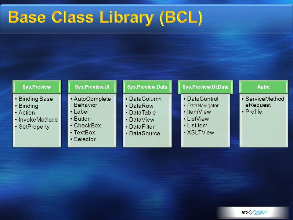 Le Javascript est un langage « object- based » et non pas « object-oriented » Ajout de type étendu Array – add, contains, remove… Boolean Number - Parse Object – getType, getTypeName String – format, endsWith, startWith, trim … Microsoft Ajax Framework ajoute NamespacesClassesHéritageInterface Type Enumérés