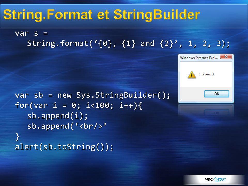 Type.registerNamespace( Frimr ); Type.registerNamespace( Frimr ); Frimr.Person = function(name) { Frimr.Person = function(name) { Frimr.Person.initializeBase(this); Frimr.Person.initializeBase(this); this._name = name; this._name = name; } Frimr.Person.prototype = { Frimr.Person.prototype = { get_name : function(){ get_name : function(){ return this._name; return this._name; } } Frimr.Person.registerClass( Frimr.Person ); Frimr.Person.registerClass( Frimr.Person );