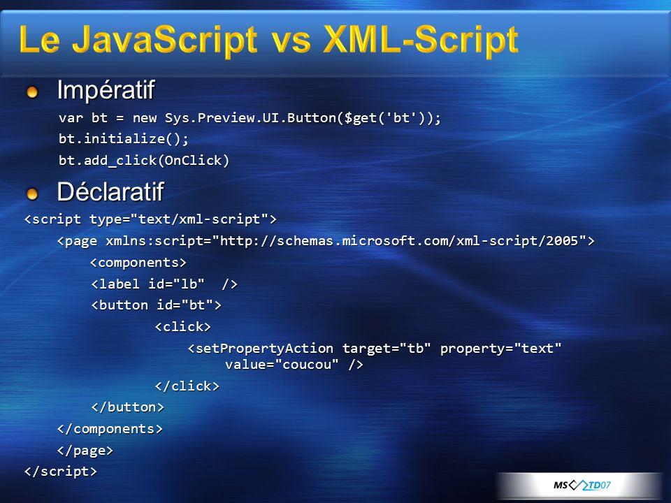 Utilisation de Microsoft Ajax Library Utilisation du XML-Script avec des Web Services en PHP et sérialisation JSON http://www.codeplex.com/phpmsajax Utilisation de Ajax Control Toolkit (Extenders)