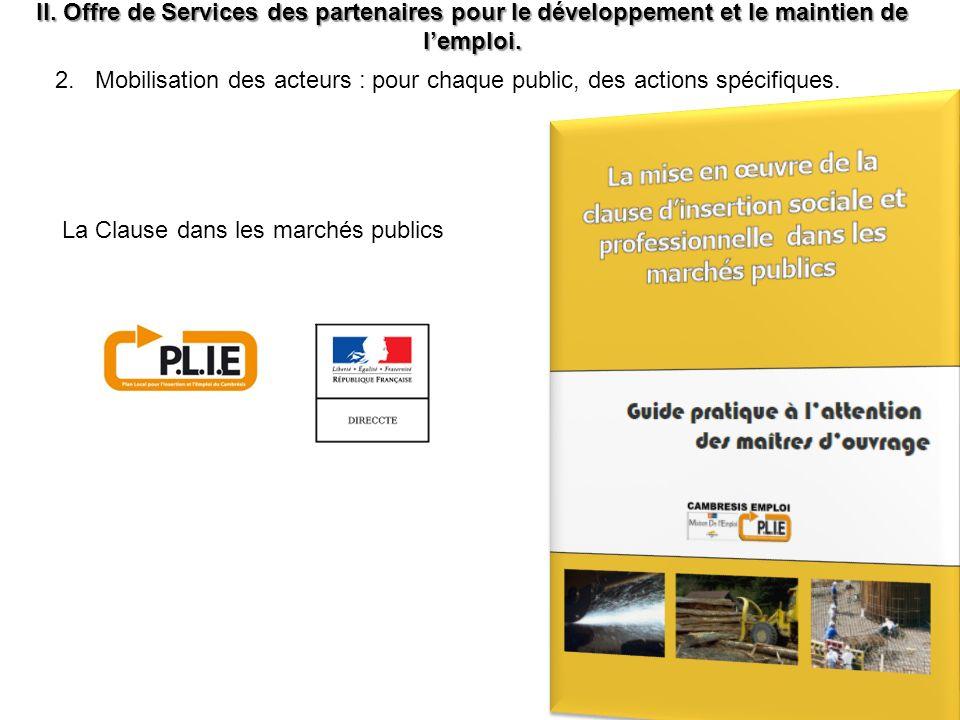 II.Offre de Services des partenaires pour le développement et le maintien de lemploi.