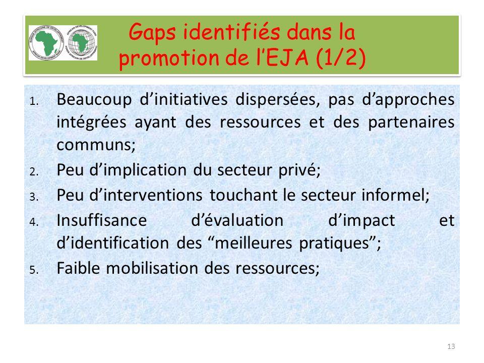 Gaps identifiés dans la promotion de lEJA (2/2) 6.