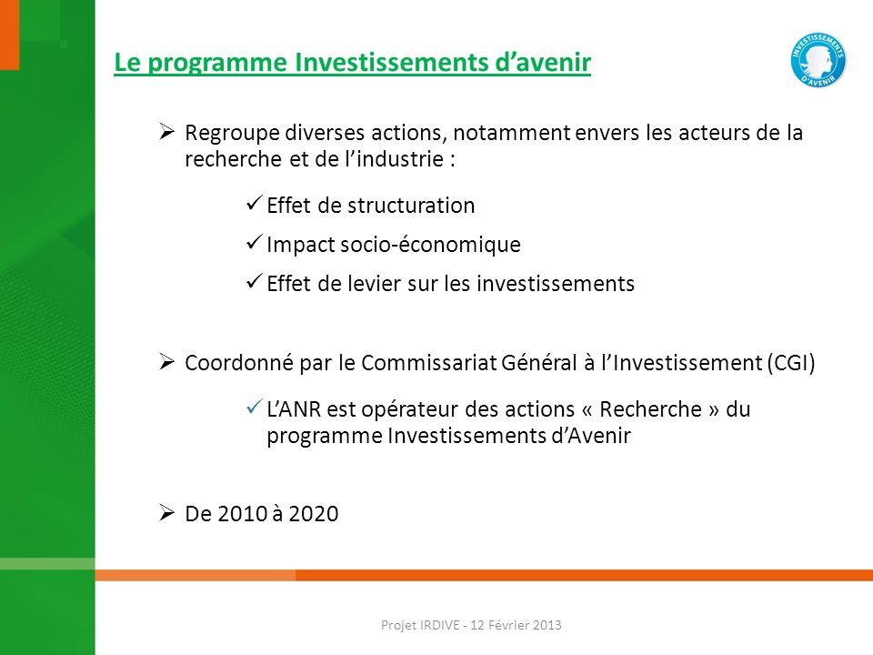 Le programme Investissements davenir 21,9 Milliards deuros pour lenseignement supérieur et la recherche Projet IRDIVE - 12 Février 2013
