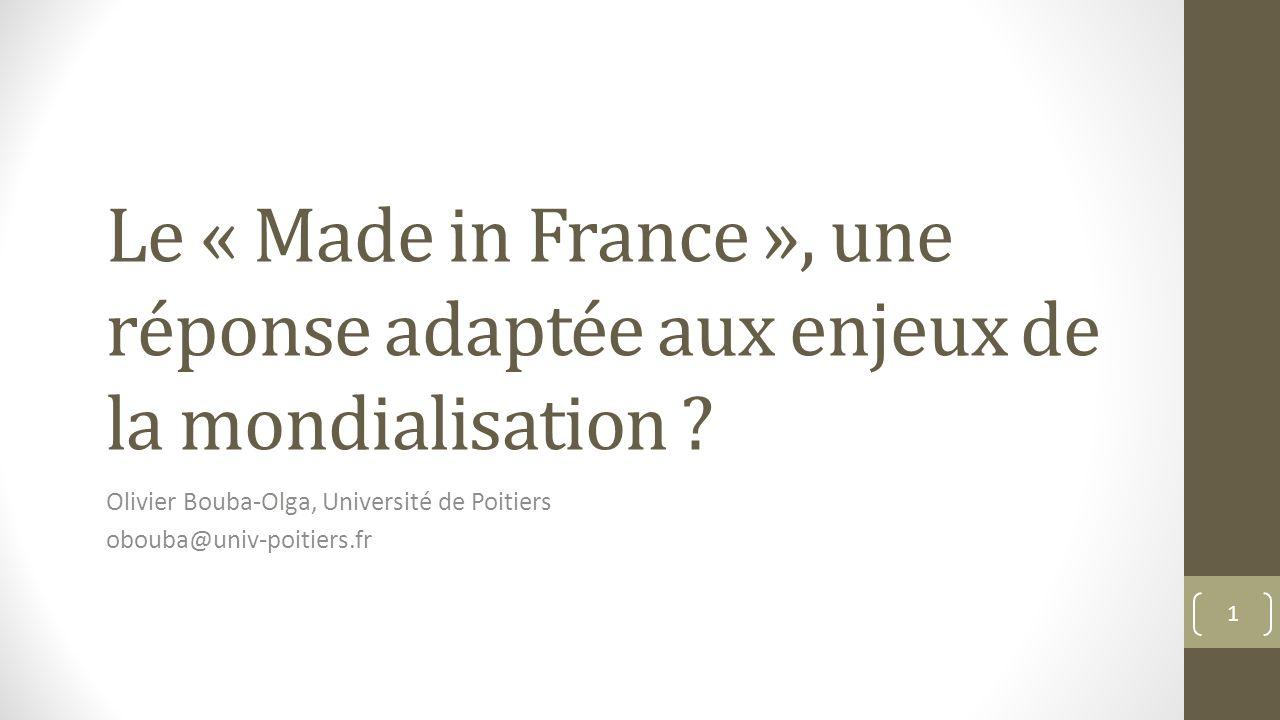 Actualité du sujet Arnaud Montebourg, chantre du « Made in France » Même chose sous Sarkozy avec Yves Jégo Préconisations : Mettre en place des mesures protectionnistes vis-à-vis des pays à bas coût, notamment la Chine Développer des politiques favorables aux relocalisations dentreprise 2