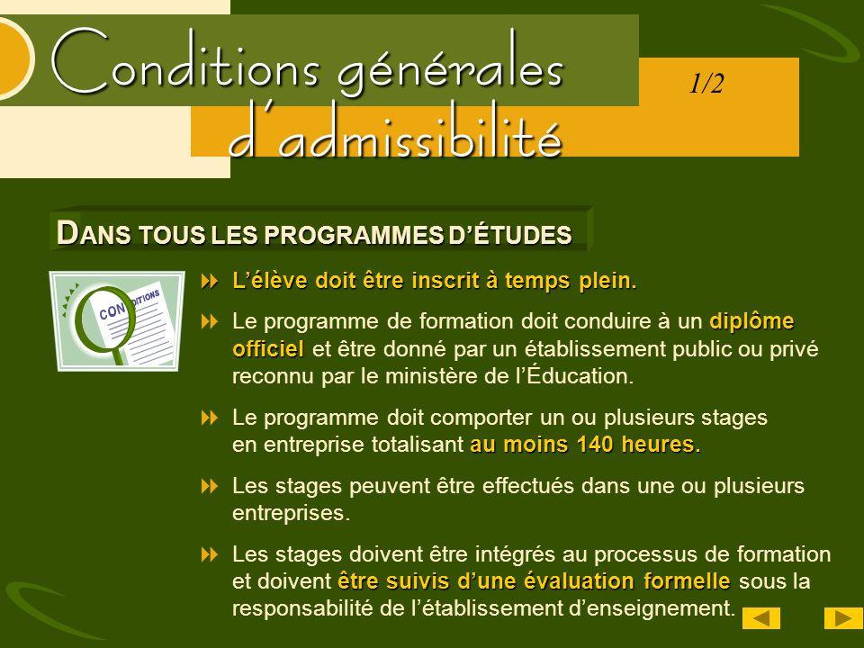 Conditions générales La durée de chaque stage doit être dun maximum de 32 semaines consécutives.