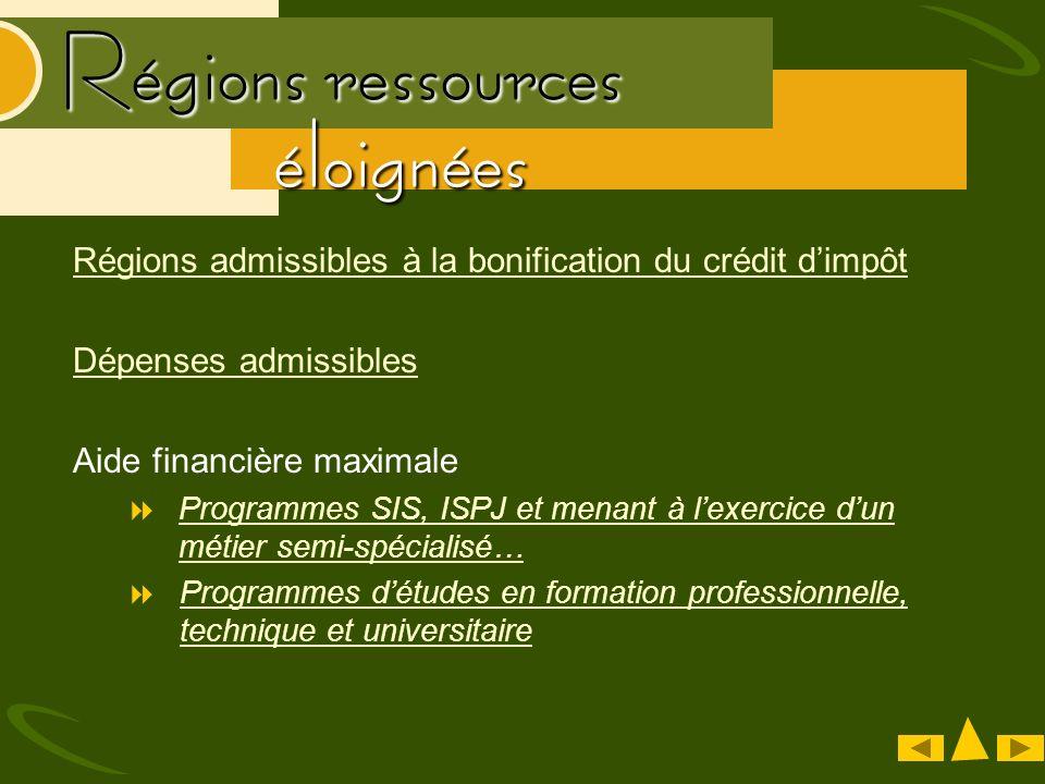 Bas-Saint-Laurent (région 01) Saguenay – Lac-Saint-Jean (région 2) MRC du Haut-Saint-Maurice MRC de Mékinac Abitibi-Témiscamingue (région 08) Côte-Nord (région 09) Nord-du-Québec (région 10) Gaspésie-Îles-de-la- Madeleine (région 11) MRC dAntoine-Labelle MRC de la Vallée-de-la- Gatineau MRC de Pontiac Régions Pour inciter les jeunes à sy installer, les dépenses admissibles dans le cadre de la mesure du crédit dimpôt ont été doublées pour les entreprises situées dans une région ressource éloignée.