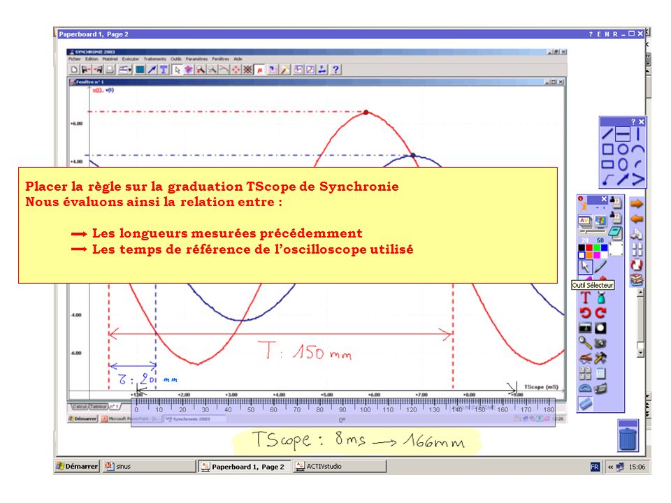 Placer la règle sur laxe vertical Mesurer les longueurs liées aux graduations en volts Mesurer les valeurs maximales des deux tensions