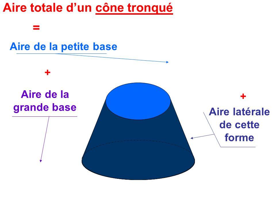 Aire de la petite base r = 8cm Au millième près Aire de la grande base R = 12cm Aire Totale dun cône tronqué