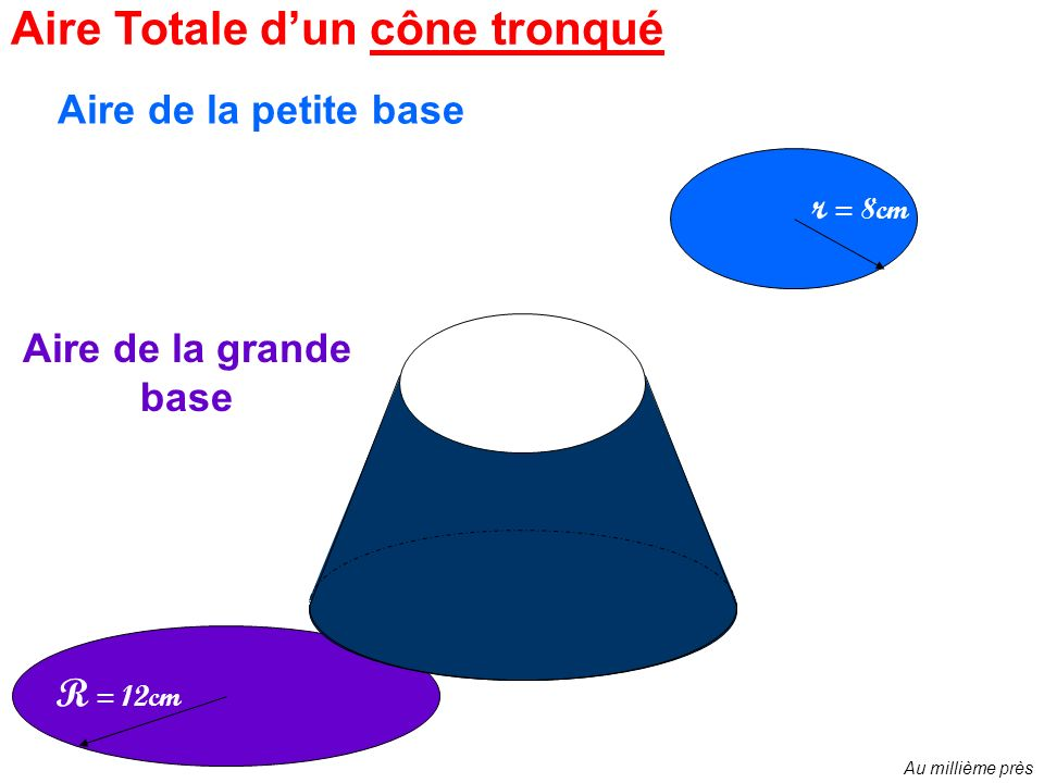 Aire latérale de cette forme ? Aire totale dun cône tronqué