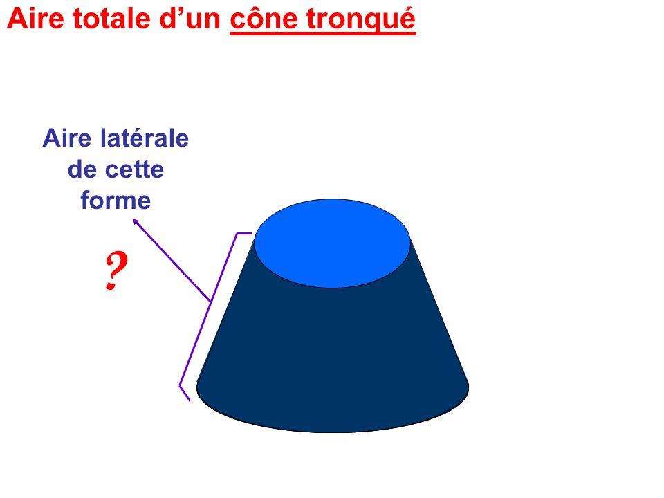 Aire latérale de cette forme Cest un grand cône auquel on a enlevé la pointe …
