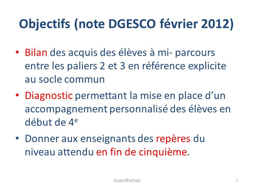 Expérimentation 2012 décrite sur la page Eduscol : Deux champs concernés : maîtrise de la langue (compétence 1) et éléments de mathématiques.