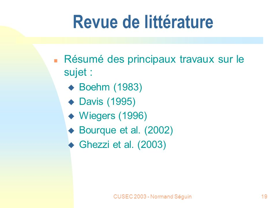 CUSEC 2003 - Normand Séguin20 Travaux de Barry W.