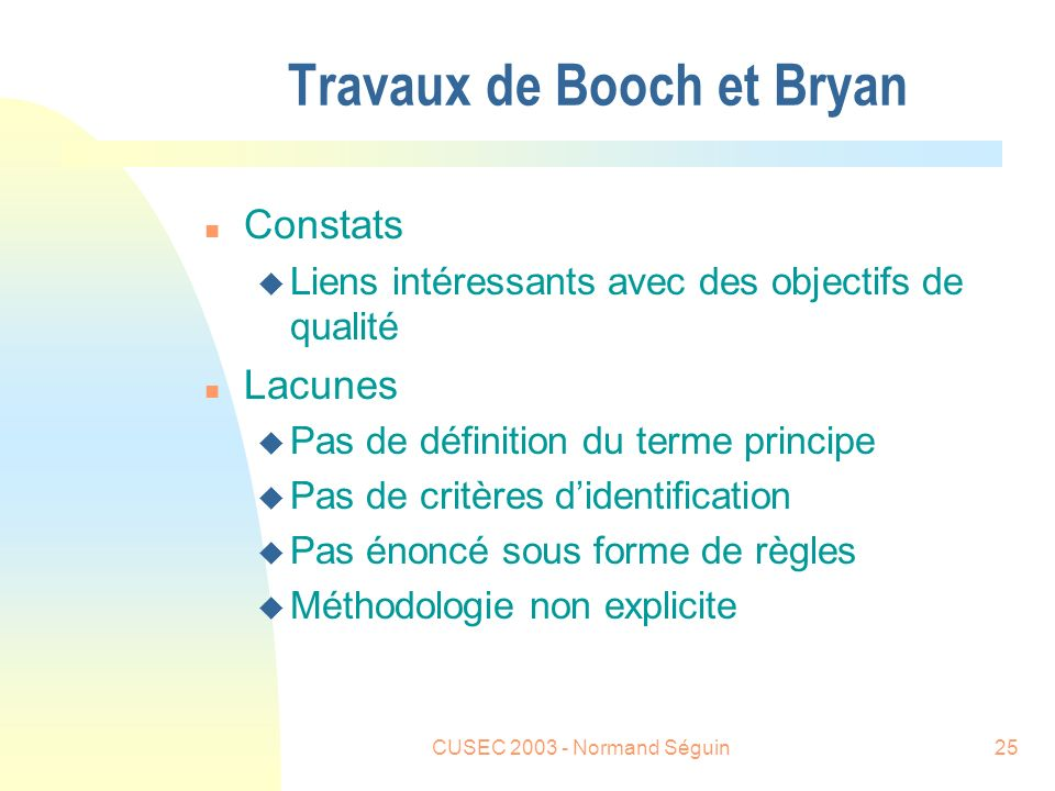 CUSEC 2003 - Normand Séguin26 Travaux de Alan Davis (1995) n Consacrer un ouvrage sur les principes n Davis identifie 201 principes classés en 8 catégories n Il définit le terme principe : u a principle is a basic truth, rule or assumption about software engineering that holds regarless of the technique, tool or language selected (Davis 95)