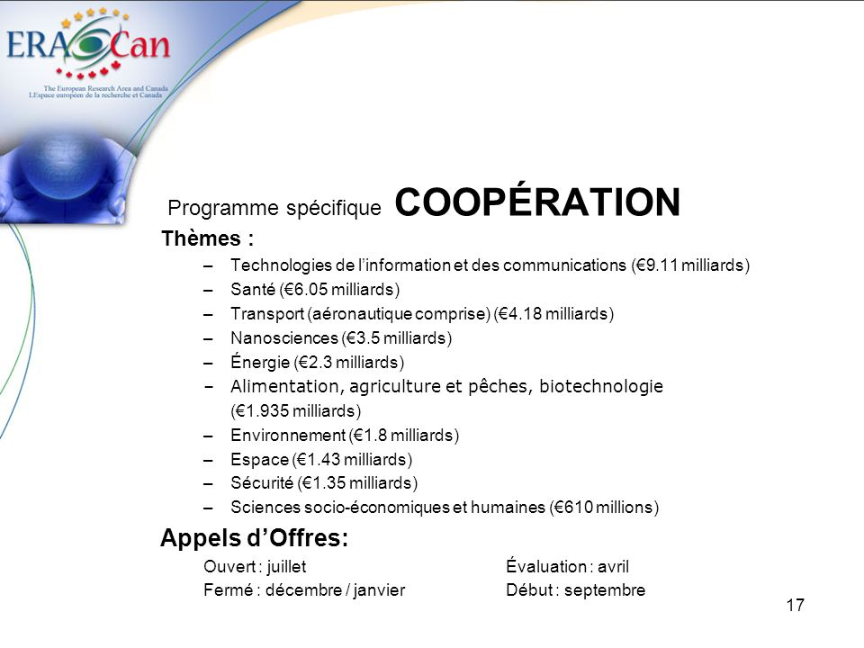 18 Programme spécifique COOPÉRATION Sujets (Topics) : Energy (2012): Impact of the quality of CO2 on transport and storage Techno-economic assessment of the impact of impurities in CO2, from power plants and other CO2 intensive industries, on fluid properties, phase behaviour and chemical reactions in the transport pipelines and the storage infrastructure and storage site integrity.