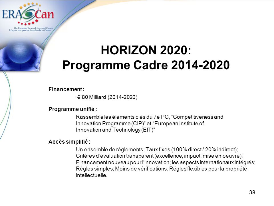 39 HORIZON 2020: Programme Cadre 2014-2020 Excellent Science IDÉES (European Research Council) 13.27 Milliards Future and Emerging Technologies 3.1 Milliards PERSONNES (Marie Curie Actions) 5.75 Milliards CAPACITÉS (Infrastructure) 2.48 Milliards Industrial Leadership Enabling and Industrial Technologies 13.78 Milliards Risk Finance 3.54 Milliards SME Innovation 619 Milliards Societal Challenges (COOPÉRATION) Health, demographic change and wellbeing 8.03 Milliards Food security, sustainable agriculture, marine and maritime research & the bio-economy 4.15 Milliards Secure, clean and efficient energy 5.78 Milliards Smart, green and integrated transport 6.8 Milliards Climate action, resource efficiency and raw materials 3.16 Milliards Inclusive, innovative and secure societies 3.82 Milliards