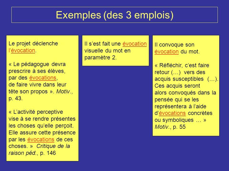 Perception Evocation Restitution Application au chapeau : Evocation en cours (sens n°1)