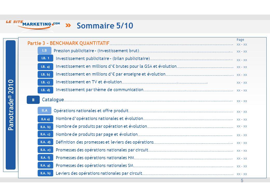 Sommaire 6/10 6 médias et hors médias Panotrade ® 2010 2 Prospectus : analyse comparative Marketing direct 3 Promotionnelle et prix : analyse comparative 4 6 Partie 3 – BENCHMARK QUANTITATIF ……………………………………………………………………………………………………………………………….