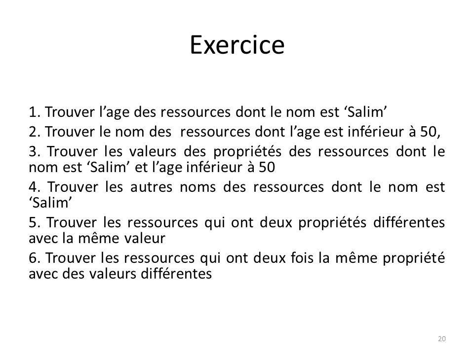 Exercice 1.Trouver lage des ressources dont le nom est Salim select ?age where { ?x name Salim.