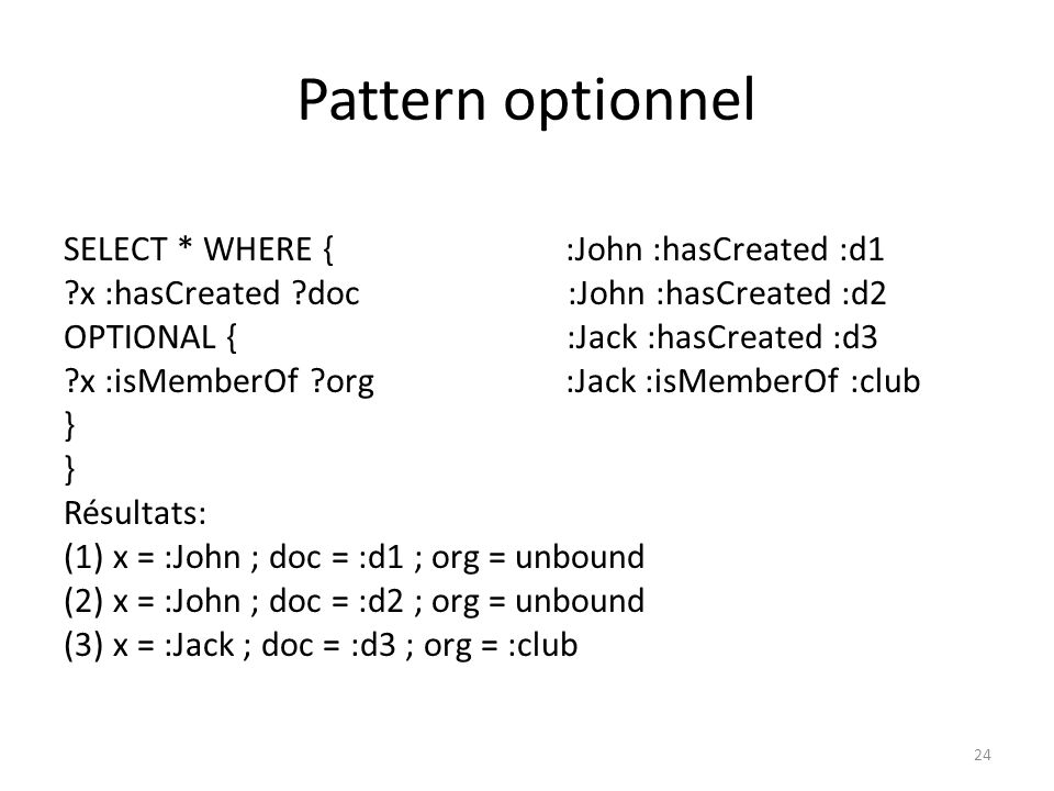 Pattern optionnel SELECT * WHERE { ?x :hasCreated ?doc.