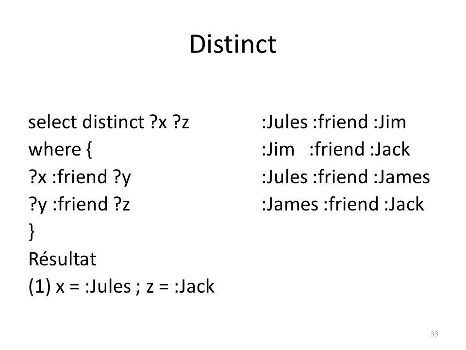 Distinct select ?x ?z :Jules :friend :Jim where { :Jim :friend :Jack ?x :friend ?y :Jules :friend :James ?y :friend ?z :James :friend :Jack } Résultat (1) x = :Jules ; z = :Jack (2) x = :Jules ; z = :Jack 34