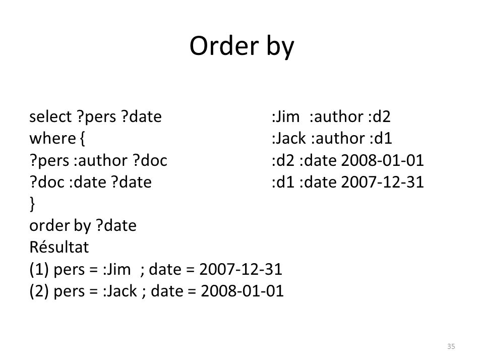 Order by select ?doc ?date :Jim :author :d2 where { :Jack :author :d1 ?pers :author ?doc :Jack :author :d3 ?doc :date ?date :d2 :date 2008-01-01 } :d1 :date 2007-12-31 order by ?date :d3 :date 2007-12-31 desc(?doc) Résultat (1) doc = :d3 ; date = 2007-12-31 (2) doc = :d1 ; date = 2007-12-31 (3) doc = :d2 ; date = 2008-01-01 36