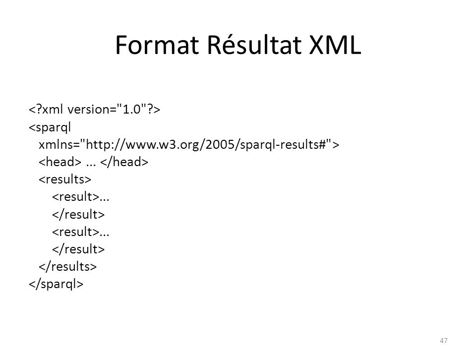Format Résultat XML r2 http://example.org Bob 30 48