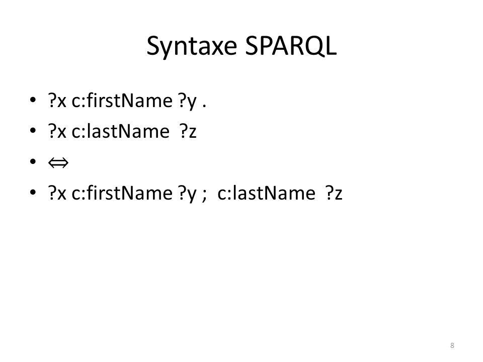 Syntaxe SPARQL ?x c:name Omar. ?x c:name Zaid. ?x c:name Omar, Zaid. 9