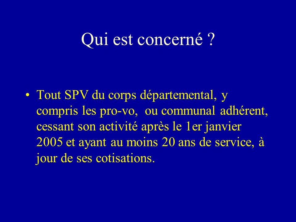 Les dispositifs PFR Transitoire-pérenne : SPV en activité au 1er janvier 2005, qui ont plus de 20 ans d ancienneté au 1er janvier 2005.