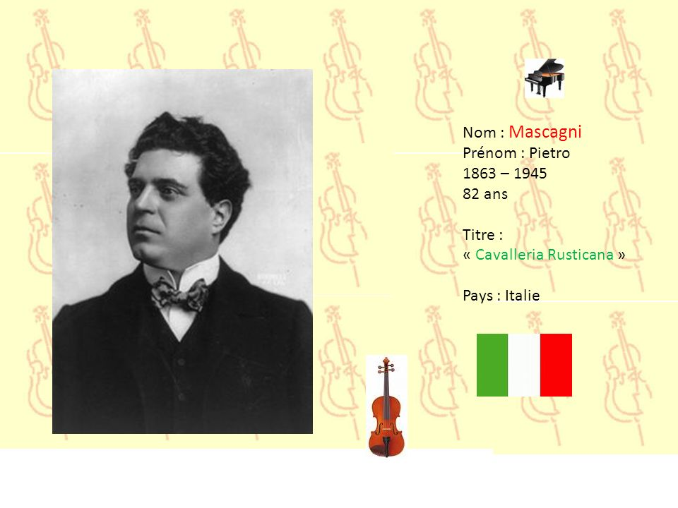 Nom : Mascagni Prénom : Pietro 1863 – 1945 82 ans Titre : « Cavalleria Rusticana » Pays : Italie