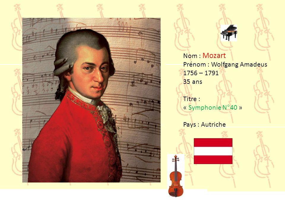 Nom : Mozart Prénom : Wolfgang Amadeus 1756 – 1791 35 ans Titre : « Symphonie N°40 » Pays : Autriche