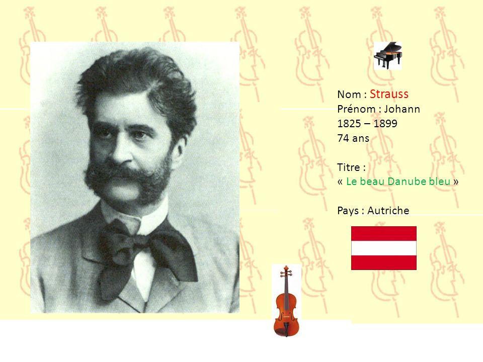 Nom : Strauss Prénom : Johann 1825 – 1899 74 ans Titre : « Le beau Danube bleu » Pays : Autriche