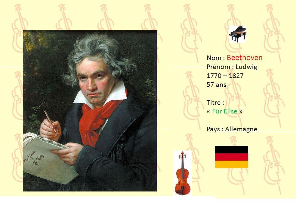 Nom : Beethoven Prénom : Ludwig 1770 – 1827 57 ans Titre : « Für Elise » Pays : Allemagne