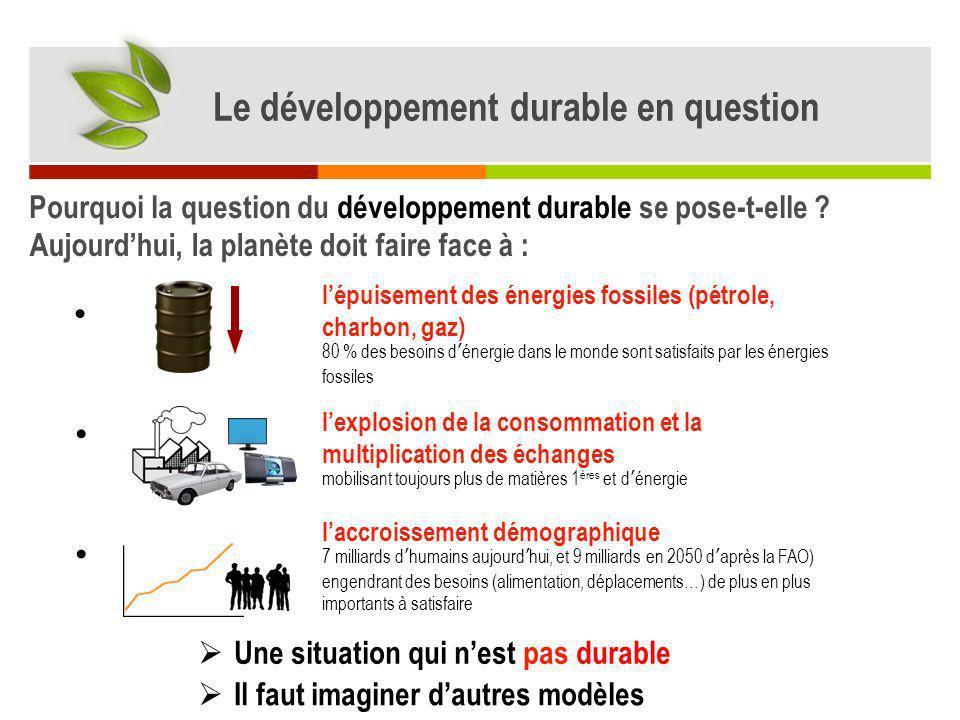 Une alternative : le Développement Durable Définition : « Le Développement Durable est un développement qui sefforce de répondre aux besoins présents sans compromettre les capacités des générations futures à satisfaire les leurs.