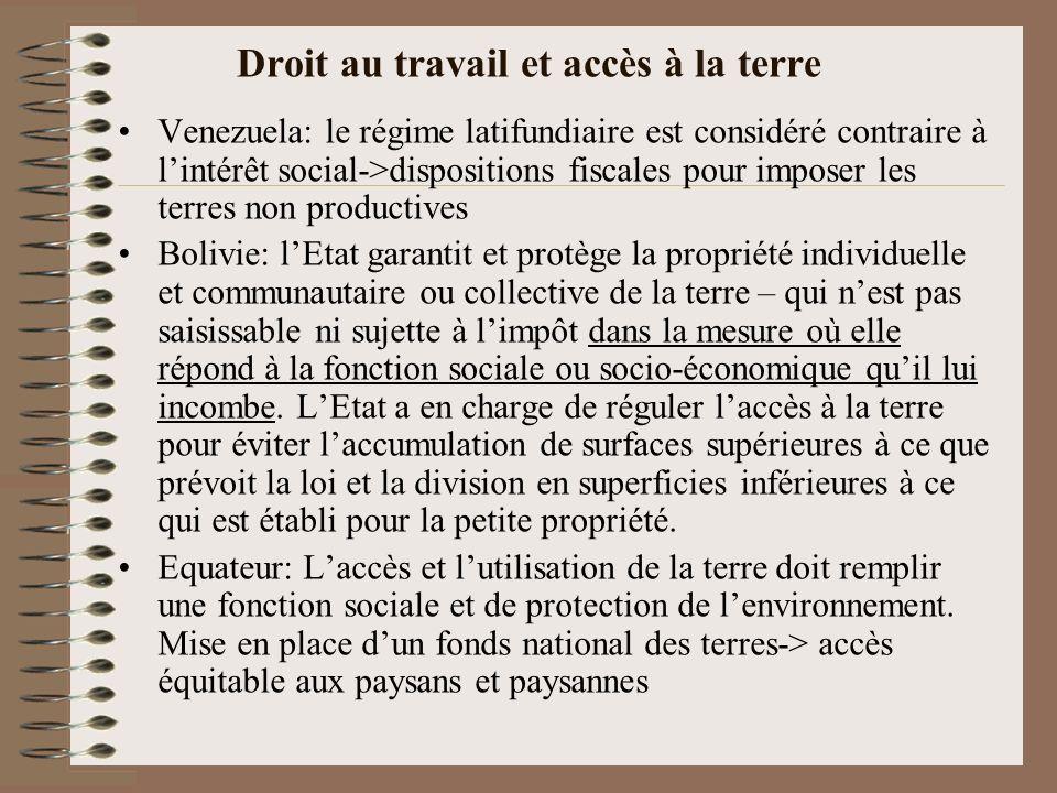 Les droits des populations indigènes et afro-descendantes Venezuela Reconnaissance de lexistence, de lorganisation sociale, politique et économique des peuples indigènes (cultures, langues, religions, habitat, droit originaire sur leurs terres ancestrales).