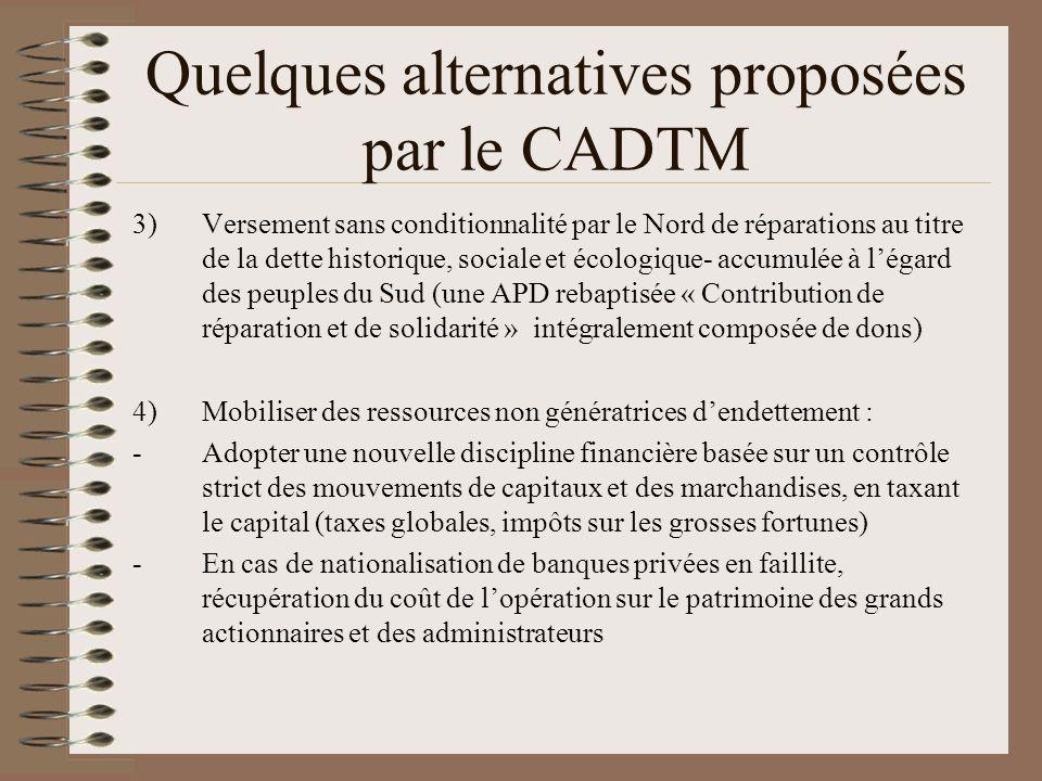 Quelques alternatives proposées par le CADTM 5)Actions en justice contre les institutions financières internationales 6)Remplacement de la Banque mondiale, du FMI par des institutions démocratiques qui mettent la priorité sur la satisfaction des droits humains fondamentaux 7)Réhabiliter la doctrine Calvo et créer un organe arbitral régional.