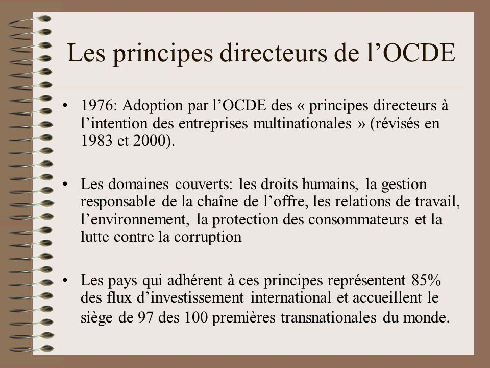 Les principes directeurs de lOCDE Ces principes sont de simples recommandations nimpliquant strictement aucune espèce de sanction Les points de contact nationaux (PCN) sont des instances de discussion et de médiation Les PCN nont aucun moyen de mener une enquête ou une investigation Absence quasi-totale de volonté des PCN denter en conflit avec les entreprises (les exemples du Royaume-Uni et des États-Unis) Les PCN dépendent dans leur quasi-totalité des Ministères des Finances des pays OCDE