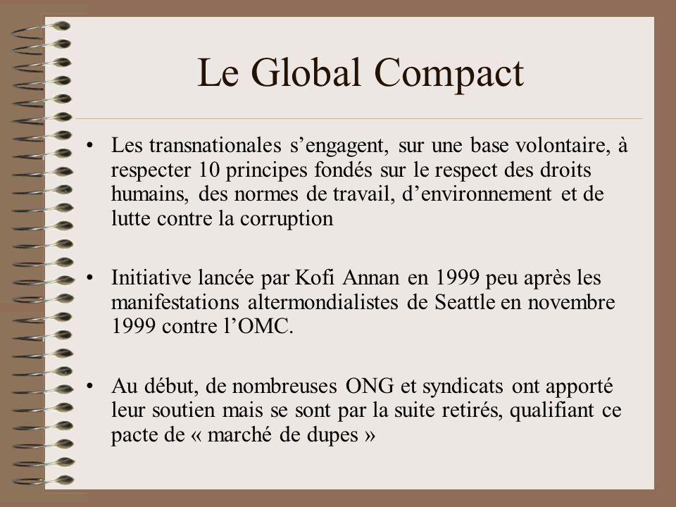 Le Global Compact Aucune force contraignante et aucun moyen de vérifier le respect de ces engagements En août 2009, sur les 5147 entreprises adhérentes, 926 étaient déclarées « non communicantes ».