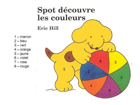 1 – marron 2 – bleu 3 – vert 4 – orange 5 – jaune 6 – violet 7 – rose 8 – rouge 5 5 1 1 2 3 4 6 7 8.