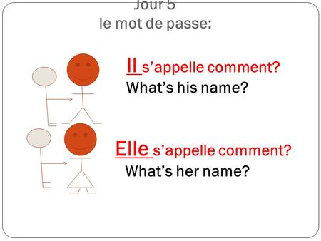 Jour 5 le mot de passe:. Il s'appelle comment. What's his name